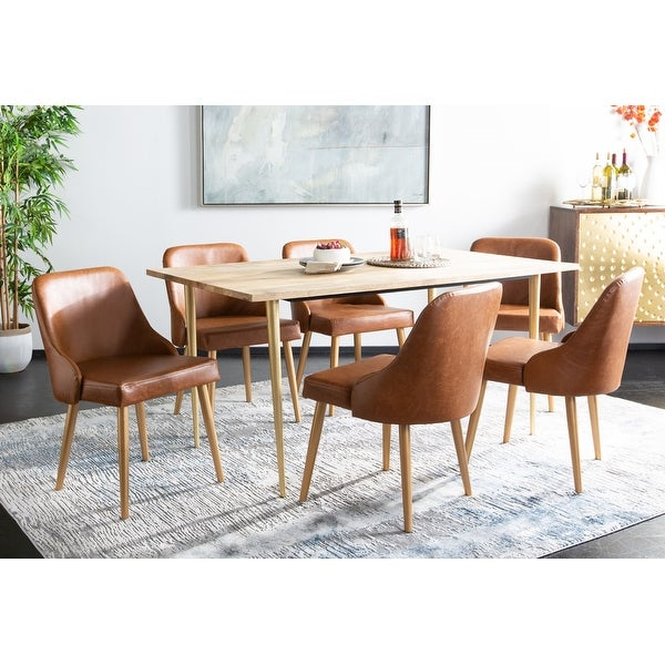 """Safavieh 18.3"""" Lulu Upholstered Dining Chair - Light Brown / Gold (Set of 2) - 21"""" x 22"""" x 31"""". Opens flyout."""