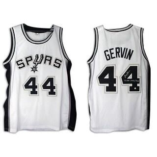 George Gervin San Antonio Spurs Autographed White Jersey Inscribed 4X NBA Scoring Champ