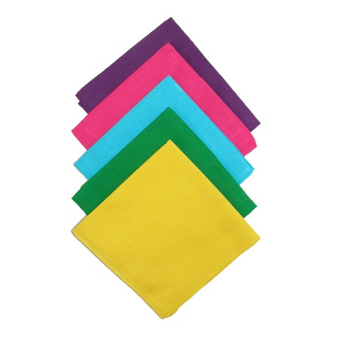 CTM® Multi Color Solid Bandanas (Pack of 5) - One size