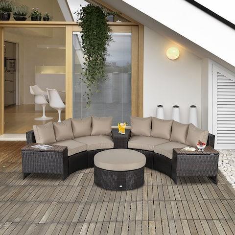 Outsunny 8 PCS Outdoor PE Rattan Patio Sofa Set Half Round Conversation Furniture Set w/ Umbrella/Stroage Side Table & Cushioned
