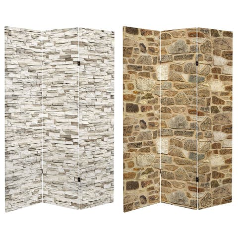 6 ft. Tall Double Sided Stone Wall Canvas Room Divider