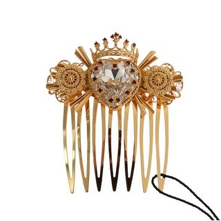 Dolce & Gabbana Gold Crystal Heart Sicily Hair Comb - One Size