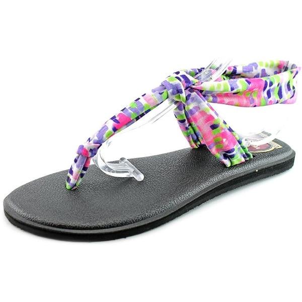 Sanuk Yoga Sling Women Open-Toe Canvas Black Slingback Sandal