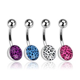 """Surgical Steel Navel Belly Button Ring with Leopard Skin Clear Epoxy Ball - 14 GA 3/8"""" Long (Sold Ind.)"""
