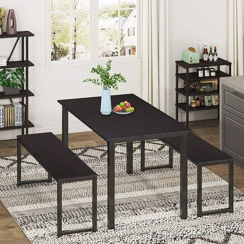 HOMURY Modern 3 Piece Dining Table Set with Two Benches, Brown