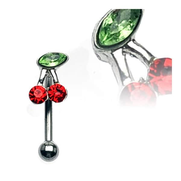 "Surgical Steel Eyebrow Curve with Red and Green Gem Cherry - 16GA 3/8"" Long (Sold Ind.)"