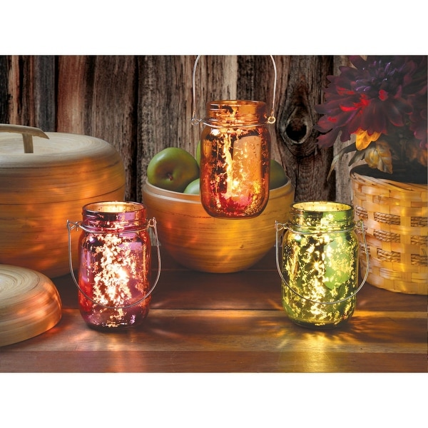 Red, Green, And Orange Hanging Glass Candle Jars Holder - Set Of Three