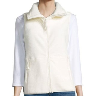 Betsey Johnson NEW White Ivory Womens XS Faux-Sherpa Vest Sweater