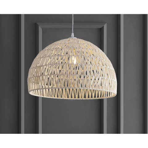 "Campana 20"" Woven Rattan Dome LED Pendant, Cream by JONATHAN Y"