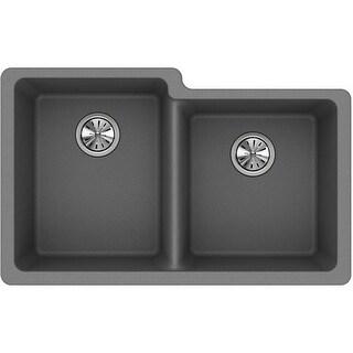 "Elkay ELGU250R  Gourmet 33"" Double Basin Granite Composite Kitchen Sink for Undermount Installations with 60/40 Split"