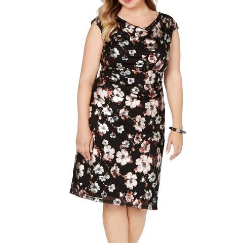 Connected Apparel Women Sheath Dress Black Size 16W Plus Floral Foil