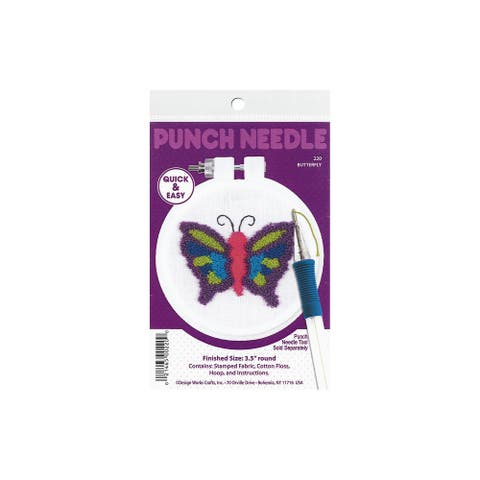 "Design Works Punch Needle Kit 3.5"" Butterfly - Medium"