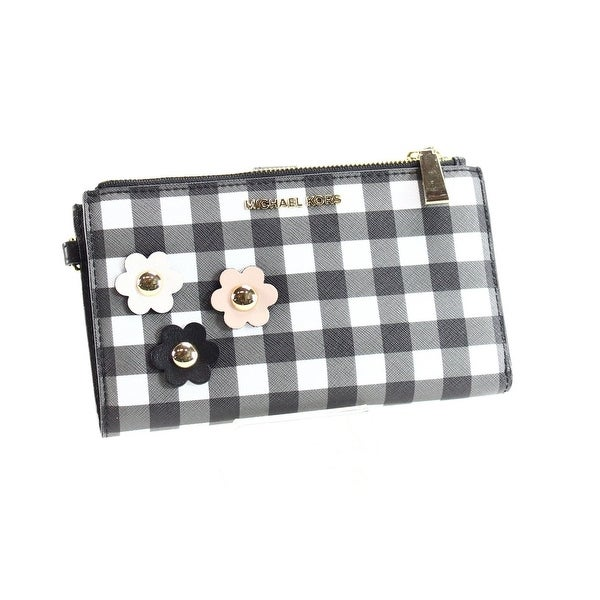 2ec6353355cd Shop Michael Kors Gingham Double Zip Wristlet Clutch Bag Black White ...