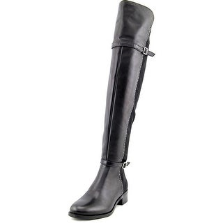 INC International Concepts Offin Women Leather Black Over the Knee Boot