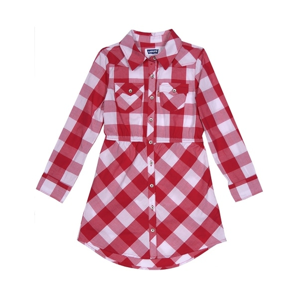Levi's Girls Long Sleeve Buffalo Plaid Woven Shirt Dress Pink and White