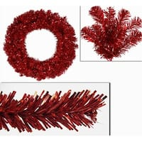 "36"" Pre-Lit Sparkling Red Hot Tinsel Artificial Christmas Wreath - Red Lights"