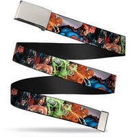 Blank Chrome Buckle Justice League New 52 Superhero Group Pose Webbing Web Belt