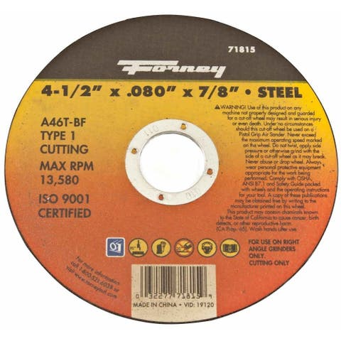 Forney 71815 Metal Cut-Off Wheel, Aluminum Oxide, 13580 rpm