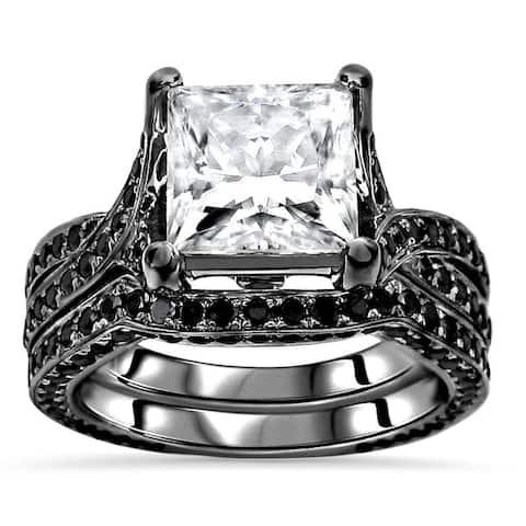 14k Black Gold Plated White Gold 2.50ct Princess cut Moissanite & 1 & 1/3ct Black Diamond Engagement Ring Set