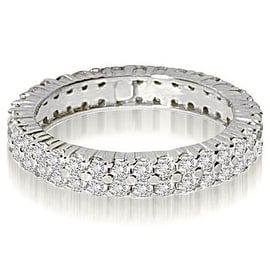 2.50 cttw. 14K White Gold Round Two Row Prong Diamond Eternity Ring