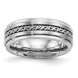 Stainless Steel Brushed and Polished Braided 7 mm Band Ring - Sizes 7 - 13