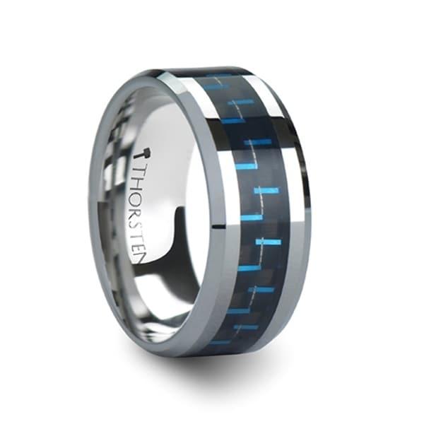 Auxilius Tungsten Carbide Ring With Black Blue Carbon Fiber Inlay
