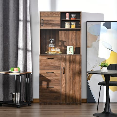 """HOMCOM 70"""" Kitchen Buffet Hutch with 3 Drawers, Sliding Door, Large Cabinet and Adjustable Shelves, Walnut"""