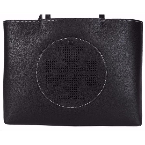 370cb65d1c4c Tory Burch Black and Oak Perforated Logo Purse Handbag Tote - 15