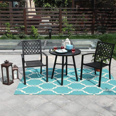 Claribelle 3-piece Black Patio Bistro Set with Round Table by Havenside Home