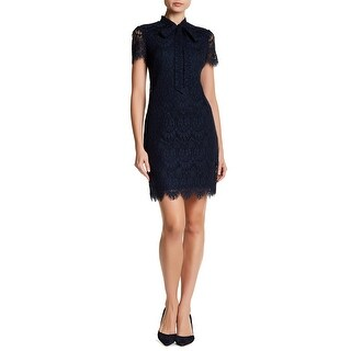 Betsey Johnson Scalloped Lace Sheath Dress with Neck Tie Navy 10