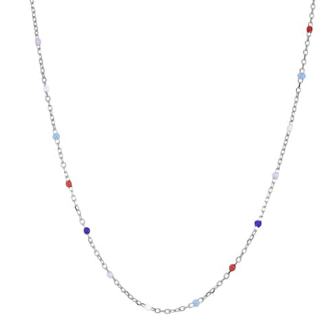 Handmade Captivating Colorful Bubble Beads on Sterling Silver Chain Necklace (Thailand) - Multicolor