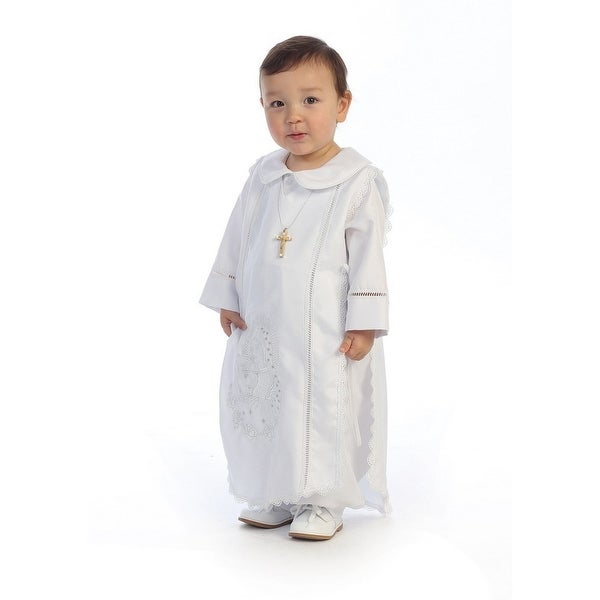 Angels Garment White Shantung Poly Romper Baptism Baby Boy 3M-24M - 12-18 months