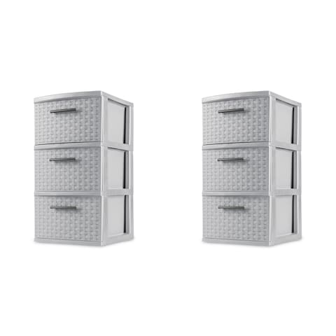 STERILITE 3 Drawer Weave Towers, Cement Color, Set of 2