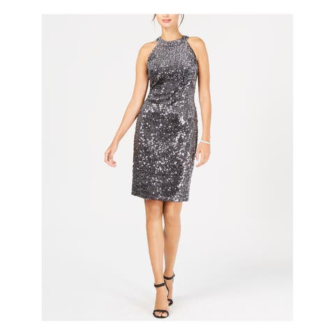 NIGHTWAY Womens Silver Velvet Sequined Sleeveless Halter Above The Knee Sheath Party Dress Size: 4