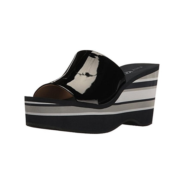 Katy Perry Womens The Casey Wedge Sandals Patent Striped