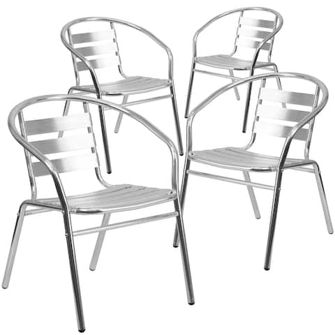 4PK Commercial Aluminum Indoor-Outdoor Stack Chair - Triple Slat Back and Arms