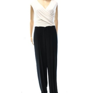 Lauren Ralph Lauren NEW Black White Women's Size 16 Surplice Jumpsuit