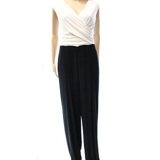 Lauren Ralph Lauren NEW Black White Women's Size 6 Surplice Jumpsuit