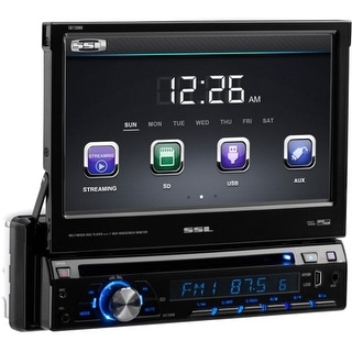 SSL SD726MB SSL SD726MB Single-DIN 7 inch Motorized Touchscreen DVD Player Receiver, Bluetooth, Detachable Front Panel, Wireless
