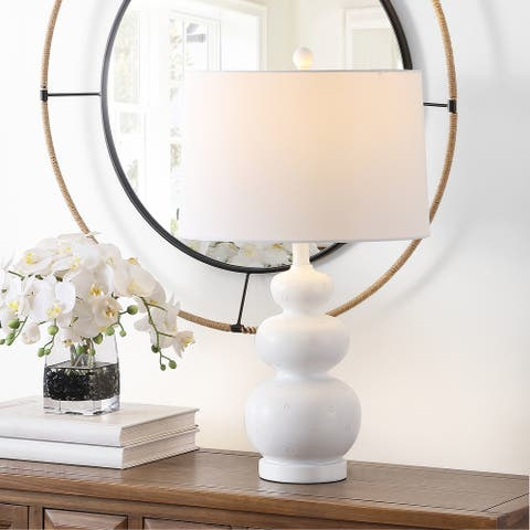 "SAFAVIEH Lighting Demena 26-inch Triple Gourd LED Table Lamp - 15"" W x 15"" L x 25.5"" H"