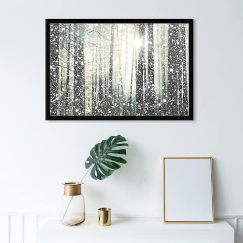 Oliver Gal 'Magical Forest SILVER' Nature and Landscape Framed Wall Art Prints Forest Landscapes - Gray, Gray