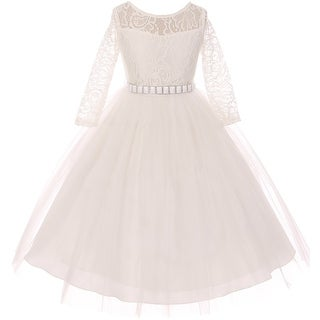 Classic Lace Pageant Wedding Flower Girl Dress Off White MBK 372
