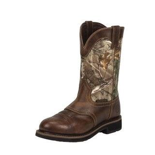 Justin Work Boots Mens Stampede Rugged Waterproof Western Tan WK4675