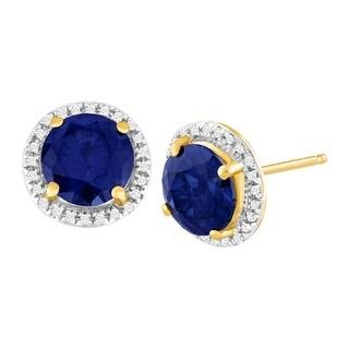 3 1/5 ct Created Sapphire & 1/10 ct Diamond Stud Earrings in 14K Gold - Blue