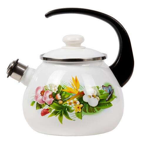STP-Goods 2.6 Qt Tropical Flowers Enamel on Steel Whistle Tea Kettle.