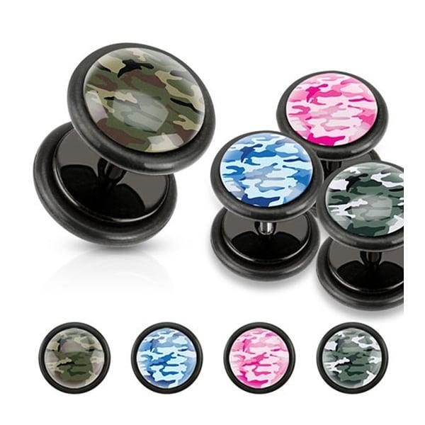 Camouflage Print Inlaid Black Acrylic Fake Plug (Sold Individually)