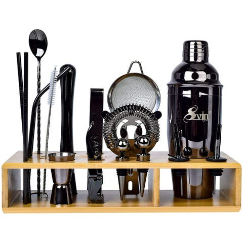 Svin Bartender Kit, 20 Piece Bar Tool Set with Bamboo Stand, Cocktail Shaker Set, Stainless Steel Bar Tools for Drink(Black)