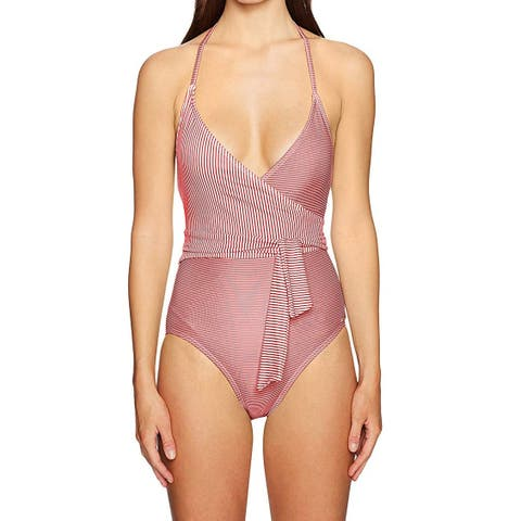 Vince Camuto Pink Womens Size 6 Stripe Wrap One-Piece Swimsuit
