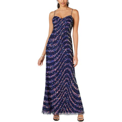 Adrianna Papell Womens Petites Evening Dress Sequined Embellished - Navy