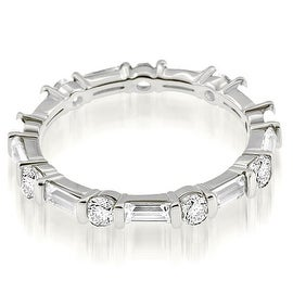 1.25 cttw. 14K White Gold Petite Round Baguette Bar Set Diamond Eternity Ring